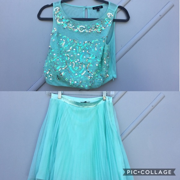 As U Wish Dresses & Skirts - Blue Sequined Two Piece Homecoming Dress | Size 5